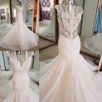 Wholesale Muslim Bride Models - Plus Size Real Photo Mermaid Wedding Gown New Scoop Vintage Lace Mermaid Wedding Dresses 2017 Sexy Backless Trumpet Bride Gowns