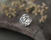 ayarlanabilir hayvan sarma halkaları toptan satış-Yeni Gelenler Vintage 925 Ayar Gümüş Hayvan Balık Yüzükler Kadınlar için Ayarlanabilir Boyutu Parmak Wrap Yüzük Moda ayar-gümüş-takı