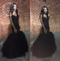 Wholesale Long Sparkly Graduation Dresses - 2017 Sexy Long Mermaid Prom Dresses for Black Girls Sparkly Sequined Beaded Crystal Evening Party Gowns Cheap Graduation Dress