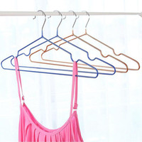 Wholesale plastic clothes hangers adult - Stainless Steel Plastic Hangers For Clothes Pegs Wire Antiskid Drying Clothes Rack Adult And Children Hanger ZA4131