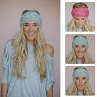 Wholesale Knitted Flowers For Sale - hot sale 31 colors Fashion Warmer headbands for women Women's Wool Crochet Headband Knit Hair band Flower Winter D491