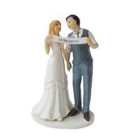 casal de decoração de bolo de casamento venda por atacado-Topper do bolo de casamento com a estatueta do casal da noiva e do noivo nós fizemos a decoração do bolo para a festa de aniversário do casamento