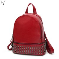 Wholesale Valentine Backpack - Rivet Student Bag Solid Vintage Leather New Throw Festival Zipper Package Daily Ladies Backpacks Valentine Discount Bags Qualities Wholesale