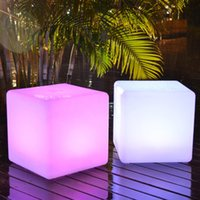 Wholesale Led Stools - Wholesale- 30*30*30CM LED Light Cube Stool Bar Party Event Decoration 16 Color-Changing Night Light Chair LED Seat Free Shipping