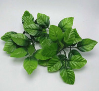Wholesale Green Silk Leaves Wholesale - 100pcs lot artificial Rose leaf 6 Cross leaf silk Cloth leaves simulation leaves Home decoration wholesale for party wedding supplies