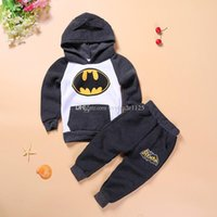 Wholesale Boys Batman Clothing - Europe and America hot selling batman cartoon kids sets boy girl thick clothing sets free shipping