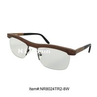 Wholesale Ebony Board - Classic business half frame ebony wood optical eyeglasses with clear plain lens and acetate board temples