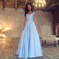 Wholesale Simple Navy Homecoming Dresses - Simple Two Piece Satin Prom Dresses Sweetheart Ruffles Floor Length Summer Beach Party Dresses Light Sky Blue Navy Blue Homecoming Dresses