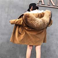 Wholesale Thick Black Female Models - 2017 new corduroy, fur, star models, lamb hair liner, extra large hair collar, middle length, thickening coat, female
