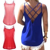 Wholesale New Women Stretchy Camisole Spaghetti Strap Tank Top Summer Sexy Slip Vest Loose Fitness Sleeveless Hollow Out Vest W1