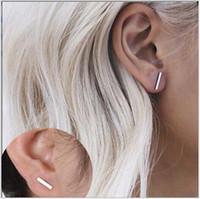 Wholesale price alloy bar resale online - 3 Color Alloy Geometry T Bar Stud Earrings For Women Cheap Price Silver Gold Black Color Stud Earring Jewelry FM