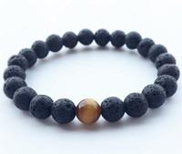 Wholesale tigers eye stone sale - Natural Lava Rock stone Popular sale lava beads bracelet Lavastone Bracelet with Tiger eye beads 8mm ball bracelet R018