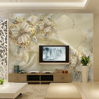 Wholesale Luxury Classic European Living Room - Custom Photo Wallpaper For Walls European Morder Luxury Style Beautiful Flowers TV Background Mural Wall Painting Wallpaper 3D