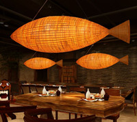 Wholesale Lighting Pendants Bamboo - 2017 NEW 100cm*30cm Fish-shaped creative chandelier works light bamboo chandeliers free shipping MYY