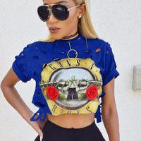 armes sexy achat en gros de-Gros-Femmes Sexy T-shirts Lady Cropped Tops évider T Shirt GUNS N ROSES Imprimer Vintage Trous Déchiré Femme T-shirt à manches courtes T-shirt