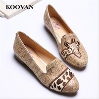 Wholesale Platform Dress Shoes For Women - Koovan Fashion Women Shoes 2017 New spring Autumn Flat Platform Loafer Shoes Embroidered Giraffe Casual Outdoor For Ladies Students W016
