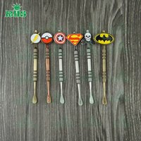 Wholesale Cool E Pipes - Stainless steel e cigarette dabber tool titanium dab nail for wax glass pipe silicone container with cool badges