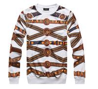 Wholesale Thin Gold Belts - Personality 3D Print Gold Medusa Belt Originality Sweatshirts Elasticity O-neck Long Sleeve T Shirts Fashion Men Women's Hoodies