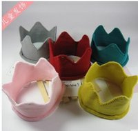 Wholesale Crochet Crowns For Babies - Spring Autumn New Children Fashion Wollen Hats Baby Boy Girl Cotton Crown Caps Multicolor For 6-24Mon Kids J0110-03