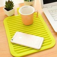 Wholesale Dinners Coaster - Wholesale- 1 pc Foldable Hight quality 4 colours 1pc Rectangular Silicone Heat Insulation Dinner Table Mat Cup Mug Dish Coaster