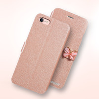 Wholesale transparent flip cover phone - Butterfly Buckle Phone Wallet Case PU Leather Silk Clamshell Grain Card Slot Flip Cover For Iphone X 8 7 6 6s Plus OPPBAG Aicoo