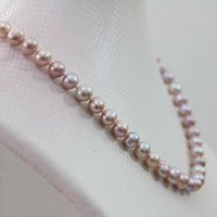 NATURAL 8-9MM AKOYA PINK COLLIER PEARL violet 17.5