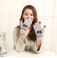 Wholesale Touch Gloves Deer - Winter Warm Touch Screen Five Fingers Gloves Cute Deer Christmas Gifts Knitted Glove For Women 12pairs lot