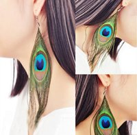 Wholesale Peacock Feather Charms - Womens Peacock Feather Pierced Earrings Real Feather Hot selling Fashion Ring 24 pcs lot