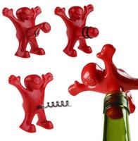 Wholesale Steel Guy - Man Guy Wine Bear Bottle Stopper opener Novelty Bar Tools Wine Cork Bottle openers Plug Corkscrew Bottle Stopper Opener KKA2109