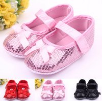 Wholesale girls black bedding - Fashion Sequins baby shoes first step neonatal soft soles baby bed shoes baby girl princess shoes