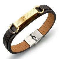 Wholesale Leather Cross Word Bracelet - Wholesale- Prayer Cross Bible Spanish Pray Words Brown Leather Bangle Bracelets For Men Jewelry Classic