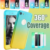 Wholesale Iphone 5s Color Cases - 360 Degree Full Coverage Protection With Tempered Glass Gradient Color Utra-thin Hard PC Cover Case For iPhone X 8 7 Plus 6 6S SE 5S 5
