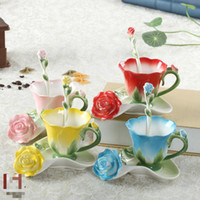 Wholesale Enamel Peacock Cup Set - Wholesale- 3D Enamel ceramic coffee cup saucer set European-style bone china wedding birthday Valentine's Day gift Peacock Cup