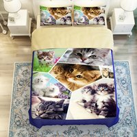Twin Queen King Size 3D Tier Katze Printed Bettwäsche Set Flitted Bettlaken Bettbezug Kissenbezug Set Schleifen Bettwäsche Bettwäsche