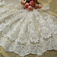 Wholesale Embroidered Tulle Fabrics - Good Quality 1 Yard Embroidered Tulle Fabric Multipurpose Sewing Accessories Clothes Lacework Trims White Lace Trimmings YR0062