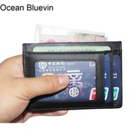 Wholesale Leather Wallets Drivers License - Ocean Bluevin RFID Genuine Leather Mens Driver License ID Holders Quality 3 Colors Lightweight Credit Card Holder Cateira Wallet