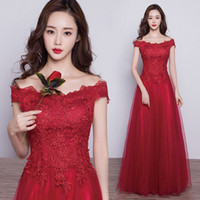 Wholesale Red Wedding Evening Dress - BEST SELLER evening dress A shoulder style dress red Long style Toast wedding dress Fashion sexy slim charming cup free gifts