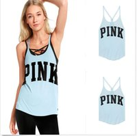 Wholesale Women Tank T shirt Tops Fashion love camis Pink Printed Lady Camisoles Cute Design Girl s O Neck Slim Vest