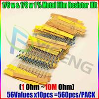 Wholesale Pcs Value - Wholesale- 1 6W&1 8W 1% Metal Film Resistor Kit 560 Pcs 56 Values Assortment Pack Mix Selection
