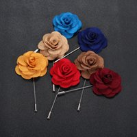 Wholesale Black Pins Brooches - Hot Lapel Flower Man Woman Camellia Handmade Boutonniere Stick Brooch Pin Men's Accessories 22 Colors