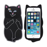 Wholesale iphone cases silicon animals - 3D Soft Silicon Cat Case For Iphone7 Iphone 7 Plus Cartoon Animals Rubber Middle Finger Cover For iPhone 6S Plus