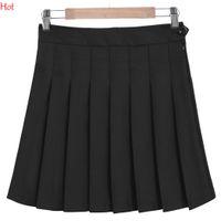 Wholesale Sexy Girls Mini Skirts - 2017 Women Summer Style Sexy Skirt Girl Lady Korean Short Skater Skirts Plus Size Fashion Female Button Zipper Pleated Mini Skirt SVH032743