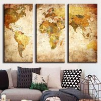 Wholesale Wall Sales Pictures - Hot Sales Canvas Painting Art Unframed 3 Pieces Vintage World Map Canvas Paintings Wall Pictures Home Decor JC0361