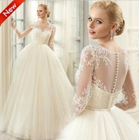 Wholesale Long Sleeve Body Tulle - Ivory Tulle Ball Gown Country Wedding Dresses 2017 Sheer Illusion Bodies Lace Long Sleeve Wedding Dress Plus Size Bridal Gowns Custom Made