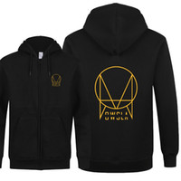 Atacado- New Fashion OWSLA Men Hoodies Outono DJ Skrillex Owsla Zipper manga comprida manga moleton moletom camisola masculina Slim Fit Men Coats