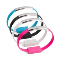 Wholesale Iphone Bracelet Charger Cable - Bracelet Hand Wrist Data Sync Charger Charging Micro USB Cable Fast Charging Portable Noodle Usb Cable For Android Samsung Huawei HTC LG.