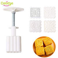 Wholesale Delidge set Mid Autumn Festival Square Moon Cake Mold Food Grade Plastic Pattern Moon Press DIY Chinese Characteristics