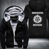 Wholesale Short Hunting Jacket - New Supernatural Zip Hoody Saving People Hunting Things Hooded Jacket Thick Coats hoodie Winchester Brothers USA Size