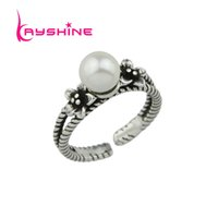 Kayshine Punk Estilo Antique Silver Color Flower Simulated-pearl Midi Finger Ring Novo Open Cuff Knuckle Rings Gift