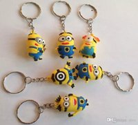 Wholesale Despicable Pvc Figures - 20pcs Movie Cartoon Key Chain Despicable Me 3D Eye Small Minions Figure Kid toy KeyChain gift yellow people Key Ring